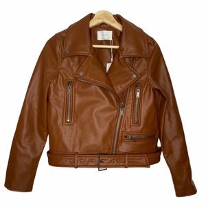 NWT OAK + FORT Vegan Leather Moto Jacket Sz S